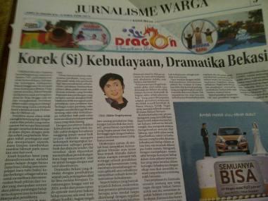 Pasca Kongkow Idea; Terbitan Radar Bekasi, 22/01/2016